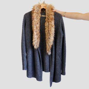 Joie Jamilee C Faux Fur Collar Wool Cardigan XS